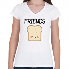 PRINTFASHION Best Friends - Nutellás kenyér 2 - Női V-nyakú póló - Fehér