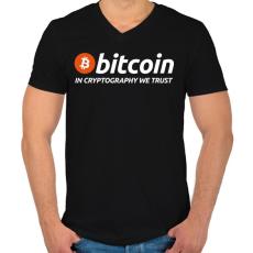 PRINTFASHION Bitcoin - Férfi V-nyakú póló - Fekete