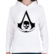 PRINTFASHION Black flag - Női kapucnis pulóver - Fehér