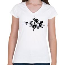 PRINTFASHION Black horses - Női V-nyakú póló - Fehér