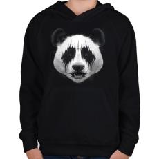 PRINTFASHION Black Metal Panda - Gyerek kapucnis pulóver - Fekete