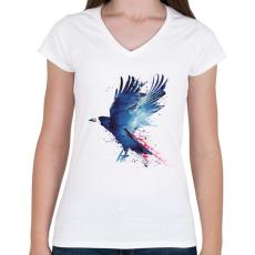 PRINTFASHION Bloody crow - Női V-nyakú póló - Fehér