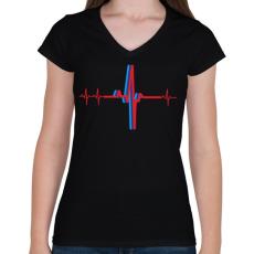 PRINTFASHION BMW M szívritmus - Női V-nyakú póló - Fekete
