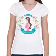 PRINTFASHION Boldog anyák napját - Női V-nyakú póló - Fehér