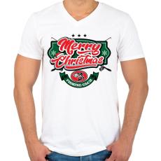 PRINTFASHION Boldog Karácsonyt - Horgászklub - Férfi V-nyakú póló - Fehér