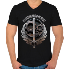 PRINTFASHION Brotherhood of Steel - Férfi V-nyakú póló - Fekete