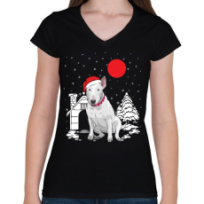 PRINTFASHION Bullterrier karácsony - Női V-nyakú póló - Fekete