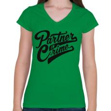 PRINTFASHION Bűntárs - Női V-nyakú póló - Zöld