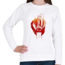 PRINTFASHION Burning forest - Női pulóver - Fehér