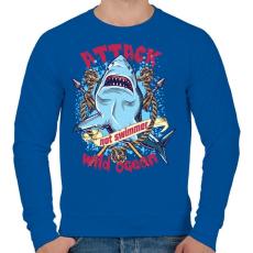 PRINTFASHION Cápatámadás - Férfi pulóver - Királykék