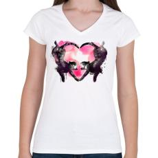 PRINTFASHION Cat love - Női V-nyakú póló - Fehér