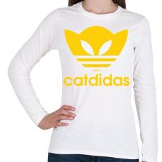 PRINTFASHION Catdidas - Női hosszú ujjú póló - Fehér