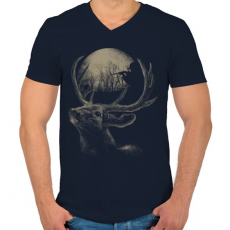 PRINTFASHION Célkereszt - Férfi V-nyakú póló - Sötétkék