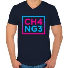 PRINTFASHION CHANGE - Férfi V-nyakú póló - Sötétkék férfi póló