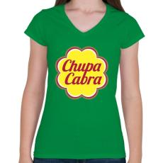 PRINTFASHION Chupacabra - Női V-nyakú póló - Zöld
