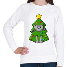 PRINTFASHION Cica karácsonyfa - Női pulóver - Fehér