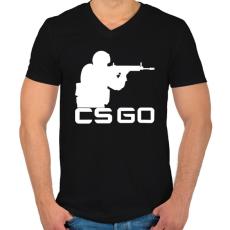 PRINTFASHION CS:GO - Férfi V-nyakú póló - Fekete