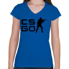 PRINTFASHION CS:GO - Női V-nyakú póló - Királykék