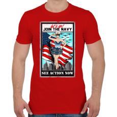 PRINTFASHION Csatlakozz a tengerészethez - Férfi póló - Piros