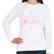 PRINTFASHION csillag-1959-pink - Női pulóver - Fehér