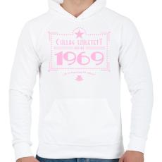 PRINTFASHION csillag-1969-pink - Férfi kapucnis pulóver - Fehér