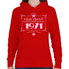 PRINTFASHION csillag-1971-pink - Női kapucnis pulóver - Piros