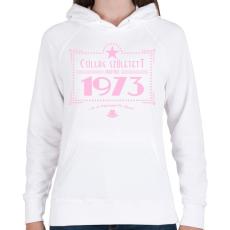 PRINTFASHION csillag-1973-pink - Női kapucnis pulóver - Fehér