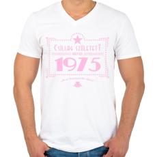 PRINTFASHION csillag-1975-pink - Férfi V-nyakú póló - Fehér