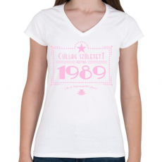 PRINTFASHION csillag-1989-pink - Női V-nyakú póló - Fehér