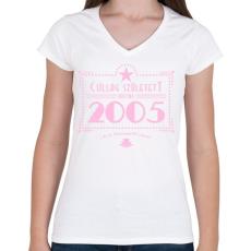 PRINTFASHION csillag-2005-pink - Női V-nyakú póló - Fehér