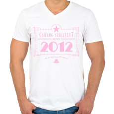 PRINTFASHION csillag-2012-pink - Férfi V-nyakú póló - Fehér