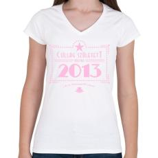 PRINTFASHION csillag-2013-pink - Női V-nyakú póló - Fehér
