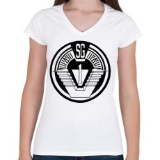 PRINTFASHION Csillagkapu csk1 logo - Női V-nyakú póló - Fehér
