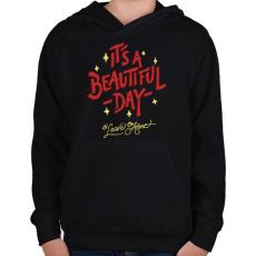 PRINTFASHION Csodálatos nap - Gyerek kapucnis pulóver - Fekete