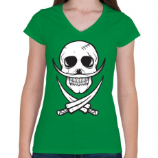 PRINTFASHION Csontbajusz - Női V-nyakú póló - Zöld