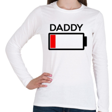 PRINTFASHION DADDY - Női hosszú ujjú póló - Fehér