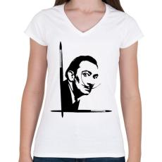 PRINTFASHION Dalí - Női V-nyakú póló - Fehér