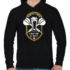 PRINTFASHION Darts és Sör - Férfi kapucnis pulóver - Fekete
