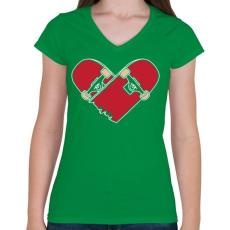 PRINTFASHION Deszka szerelem - Női V-nyakú póló - Zöld