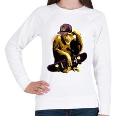 PRINTFASHION Deszkás majom - Női pulóver - Fehér