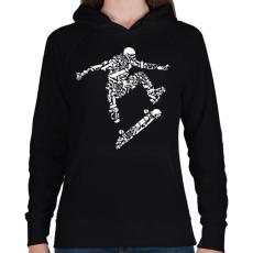 PRINTFASHION Deszkás - Női kapucnis pulóver - Fekete