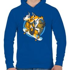 PRINTFASHION Deszkás róka - Férfi kapucnis pulóver - Királykék