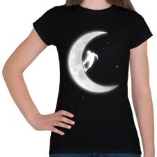 PRINTFASHION Deszkázás a holdon - Női póló - Fekete női póló