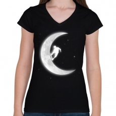PRINTFASHION Deszkázás a holdon - Női V-nyakú póló - Fekete