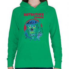 PRINTFASHION Detektív zombi - Női kapucnis pulóver - Zöld