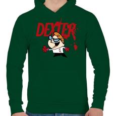 PRINTFASHION Dexter laboratóriuma? - Férfi kapucnis pulóver - Sötétzöld
