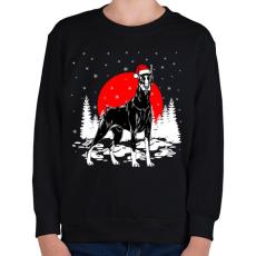 PRINTFASHION Dobermann karácsony - Gyerek pulóver - Fekete