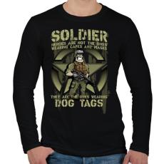 PRINTFASHION Dog Tags - Férfi hosszú ujjú póló - Fekete