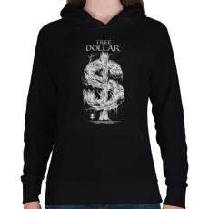 PRINTFASHION Dollár fa - szürke - Női kapucnis pulóver - Fekete