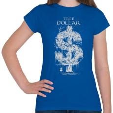 PRINTFASHION Dollár fa - szürke - Női póló - Királykék